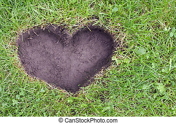Heart of the Earth concept- heart symbol carved into the...