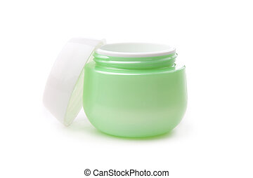 green opened Cosmetic face cream container with white cap -...
