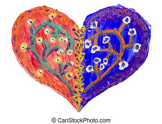 My human heart art concept - My human gentle lovely painted...
