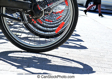 Bicycle tires in a row - Public bicycles for rent, Toronto