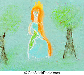 children drawing - princess in forest