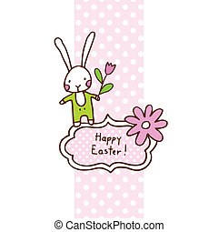 Easter bunny, cute doodle design element for greeting card