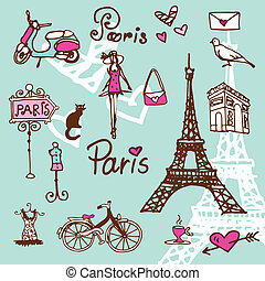 Paris symbols doodle - background