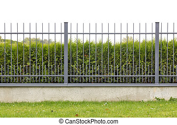 Metal village fence isolated fragment - Metal village mass...