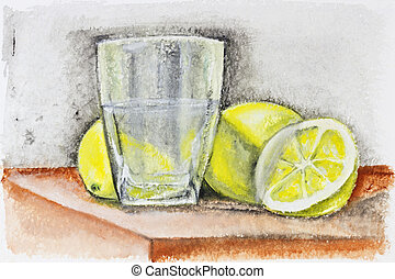 Dark rough lemonade concept - Yellow lemons and glass of...