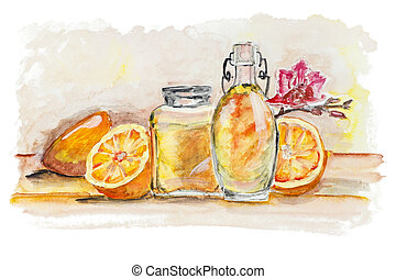Oranges and glass of juice still life isolated - Oranges and...
