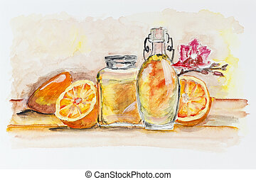 Oranges and glass of juice still life - Oranges and glass...
