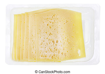 container with sliced ? cheese - Plastic transparent...