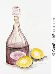 fruit lemonade - Fruit lemonade concept- handmade watercolor...
