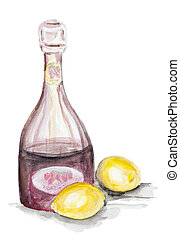 fruit lemonade - Fruit lemonade concept isolated- handmade...