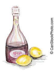 fruit lemonade - Fruit lemonade concept isolated- handmade...