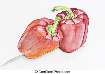 Sweet red paprika pepper - Sweet red bell pepper paprika...