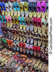 colorful shoes in souk Dubai,United Arab Emirates