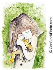 Tinni girl and frog