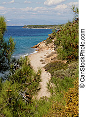 Greece, Thassos - Photo of a beautiful coastline in Thassos,...