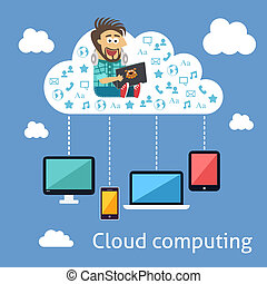 Business cloud computing concept with programmer and mobile...