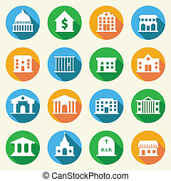 Government Buildings Icons Flat - Government building flat...