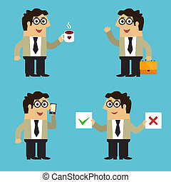 Business life employee poses - Business life employee in...