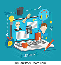 E-learning concept flat - Education school university...