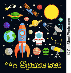 Space elements set - Space and astronomy decorative elements...