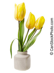 minimalistic  bouquet  - mini yellow tulips flower