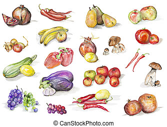 Watercolor fruits and vegetables set - Fruits, mushrooms and...