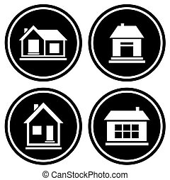 set round icons with house