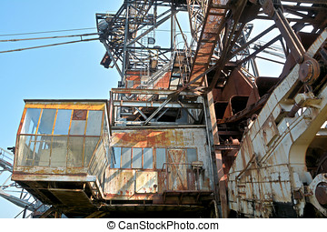 Ferropolis - Detail of a gigantic excavator in the disused...