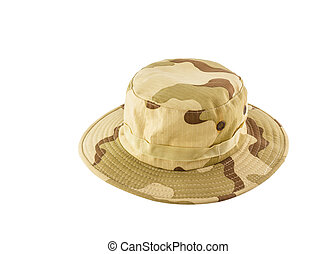 Camouflage hat isolated on white background