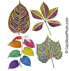 Primitive painted leaves set - Rainbow African style...