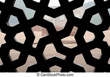 islámico, ornamento, latticed, ventana