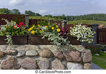 Floral village landscape - Floral summer village landscape-...