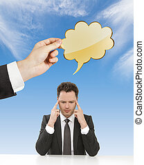 businessman thinking with cloud over head