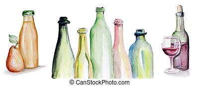 Truth in Wine and Juice - Art watercolor handmade triptych -...