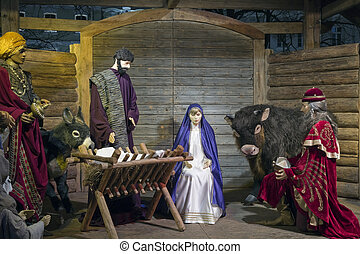 Christmas Nativity Scene - VILNIUS, LITHUANIA - DECEMBER 24:...