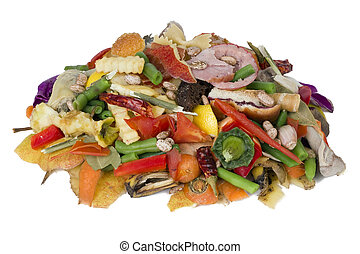 Heap of rotten food - On a white table lies a heap of rotten...