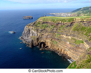 azores coastal view at s miguel island...