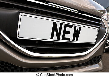 New car Number plate - Number plate of a new car for retail...