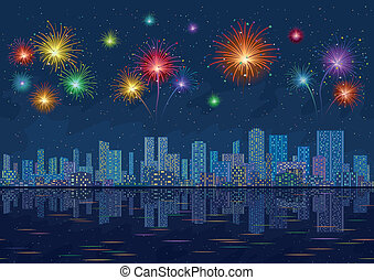 Night city landscape with fireworks, seamless - Urban...