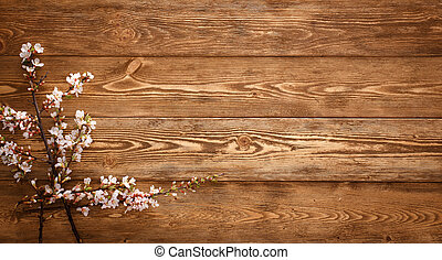 Summer Flowers on wood texture background - Flowers on wood...