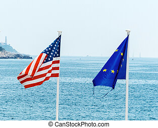 the eu, france and the usa flag - flags of the european...