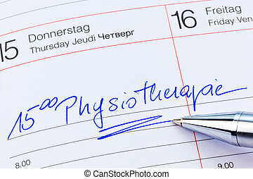 entry to the calendar: physiotherapy - a date is entered on...