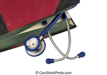 book and stethoscope, symbol photo for bungling, doctors...