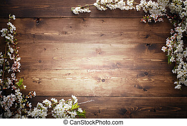 Summer Flowers on wood texture background with copyspace -...