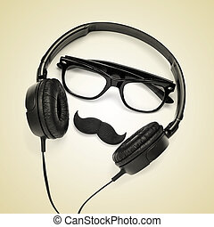 hipster guy - a pair of glasses, a mustache and a pair of...