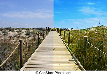 image editing - landscape with a broadwalk before and after...