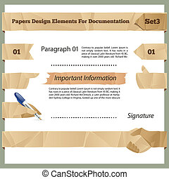 Crumpled Paper Design Elements For Documentation Set3 In the...