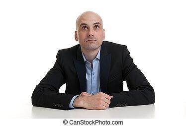 Depressed Businessman looking up