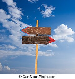 Signpost - Blank wood boards showing opposite directions