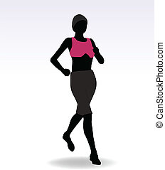 Active Jogging Girl or Woman - EPS 10 Vector Illustration of...